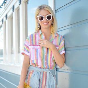 Pastel stripe linen popover shirt